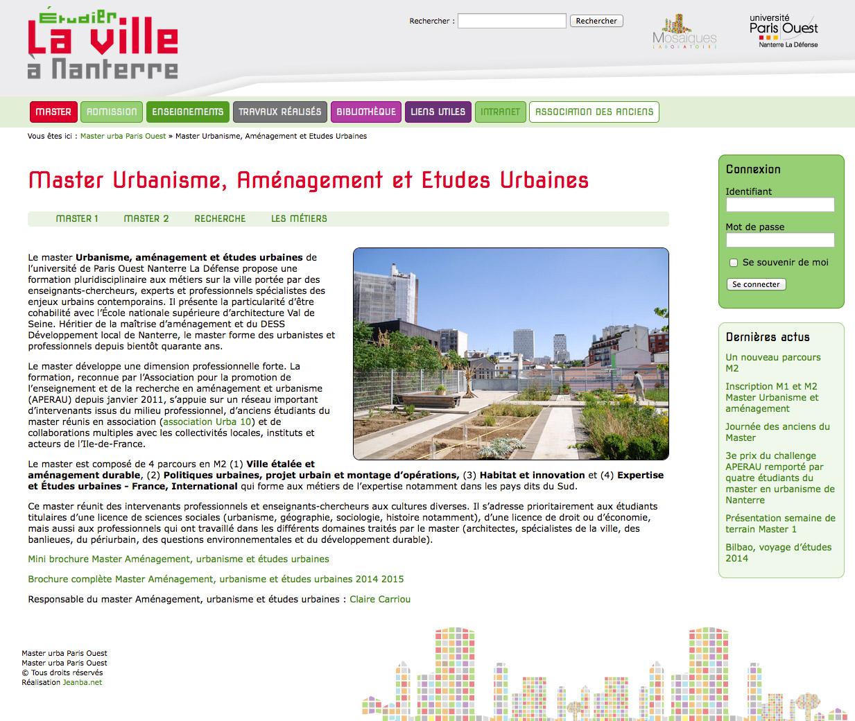 master urbanisme université Nanterre