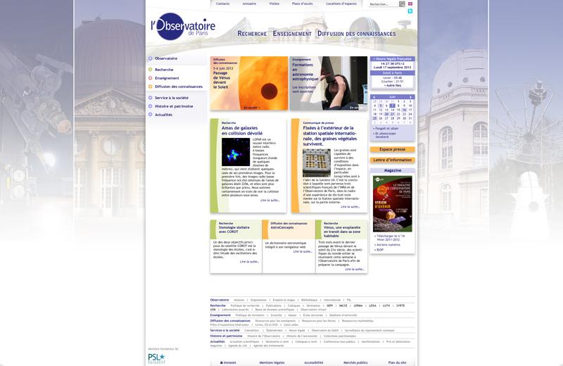 site web Observatoire de Paris